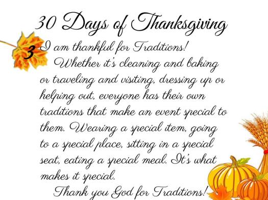 30 Days of Thanksgiving - 3