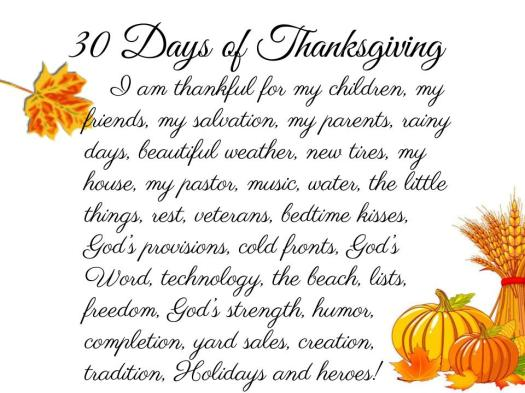 30 Days of Thanksgiving